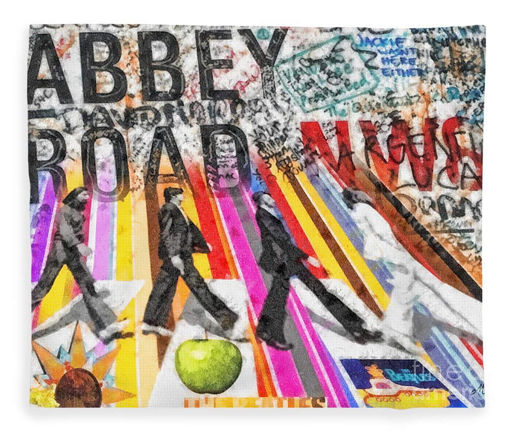 Abbey Road Fleece Blanket featuring the mixed media Abbey Road by Mo T