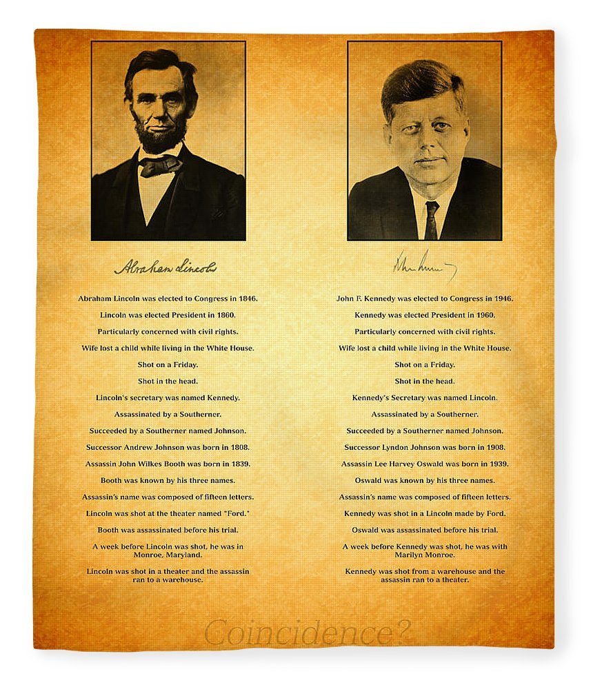 Abraham Lincoln John F Kennedy Presidential President Washington Similarities Coincidence Conspiracy Theory Fun Facts Graphic Fleece Blanket featuring the photograph Abraham Lincoln And John F Kennedy Presidential Similarities And Coincidences Conspiracy Theory Fun by Design Turnpike