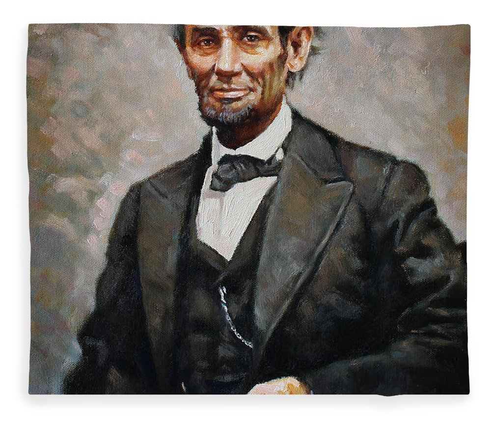 Abraham Lincoln Fleece Blanket featuring the painting Abraham Lincoln by Ylli Haruni