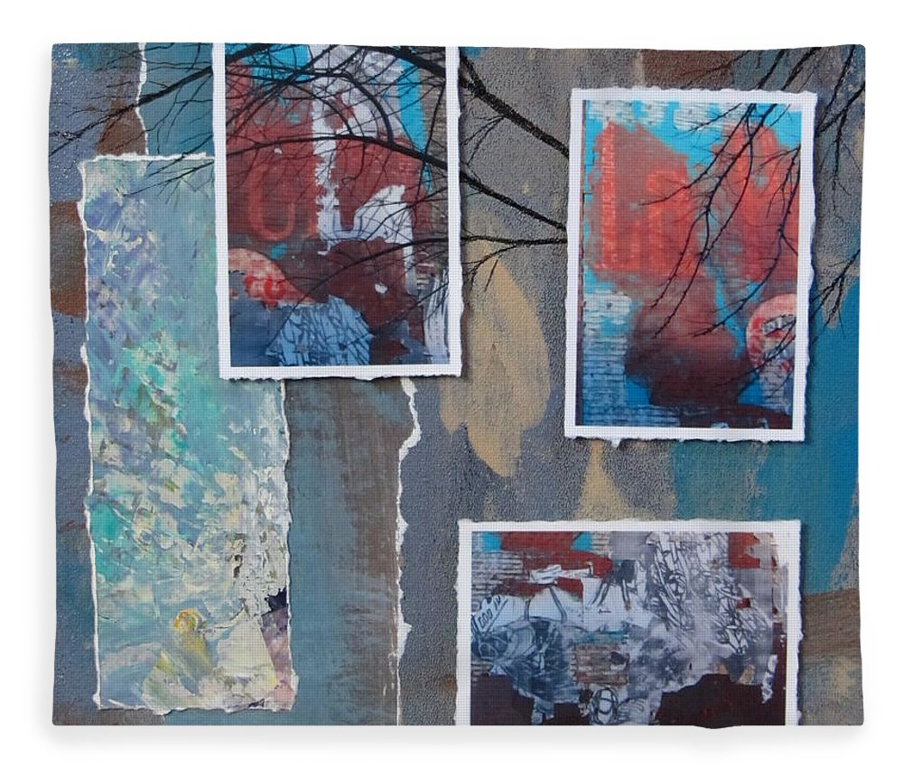 Abstract Fleece Blanket featuring the mixed media Abstract Branch Collage Trio by Anita Burgermeister
