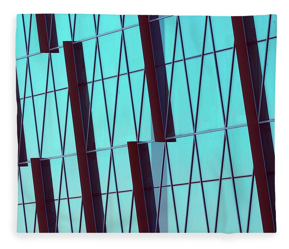 Ceiling Fleece Blanket featuring the photograph Abstract Glass Surface With Geometric by Aapsky