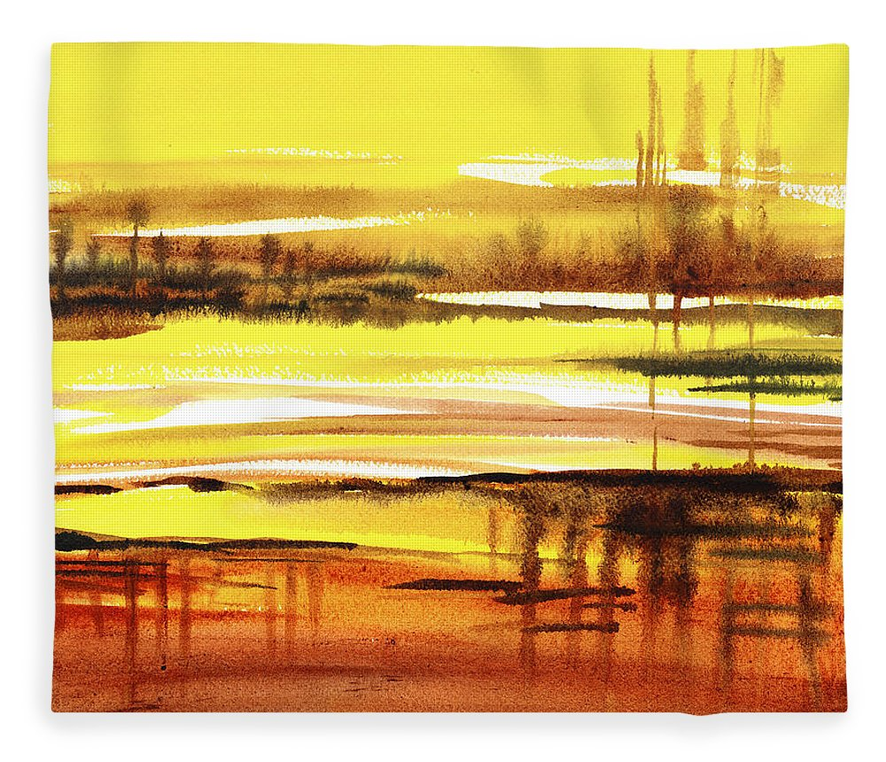 Abstract Fleece Blanket featuring the painting Abstract Landscape Reflections I by Irina Sztukowski