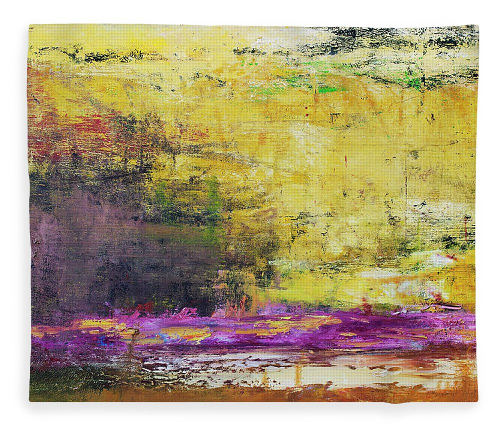 Oil Painting Fleece Blanket featuring the photograph Abstract Painted Yellow Art Backgrounds by Ekely