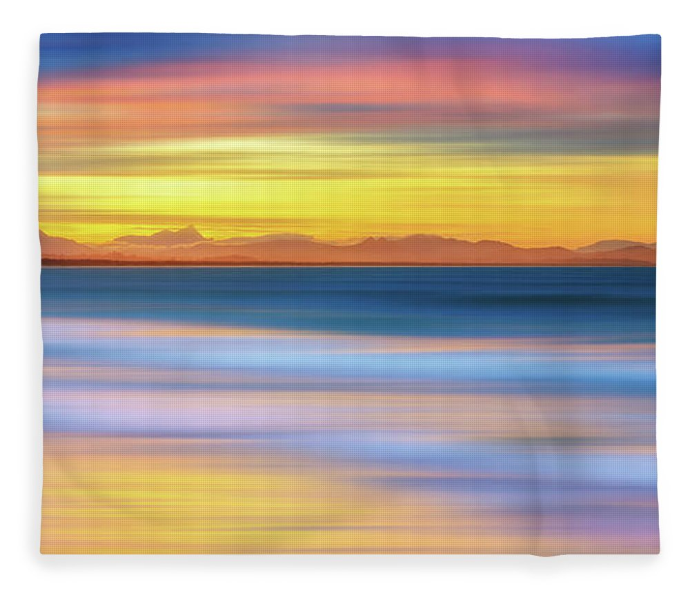 Tranquility Fleece Blanket featuring the photograph Abstract Sunset by Andriislonchak