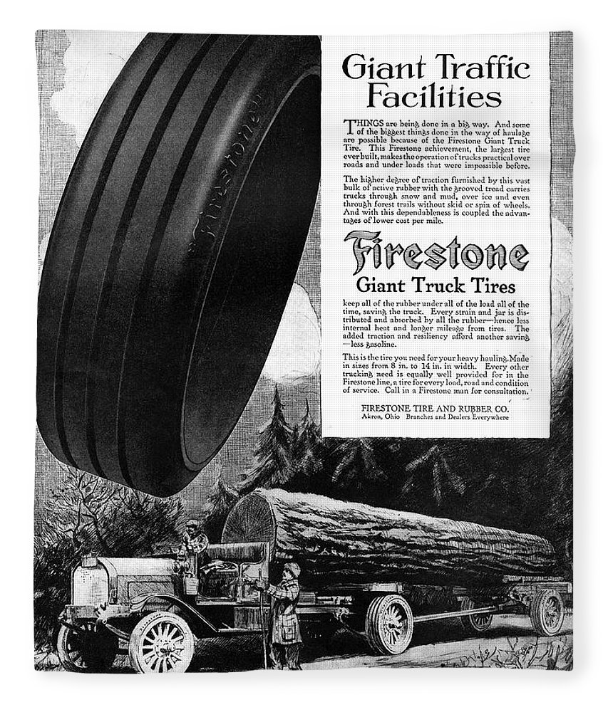 1918 Fleece Blanket featuring the painting Ad Firestone, 1918 by Granger