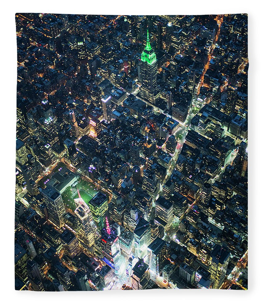 Outdoors Fleece Blanket featuring the photograph Aerial Photography Of Bloadway In Dusk by Michael H
