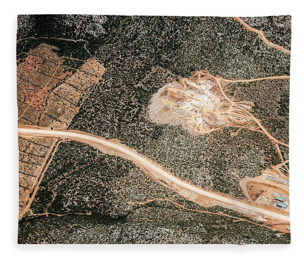 Scenics Fleece Blanket featuring the photograph Aerial View Of A Gravel Mine by Omersukrugoksu