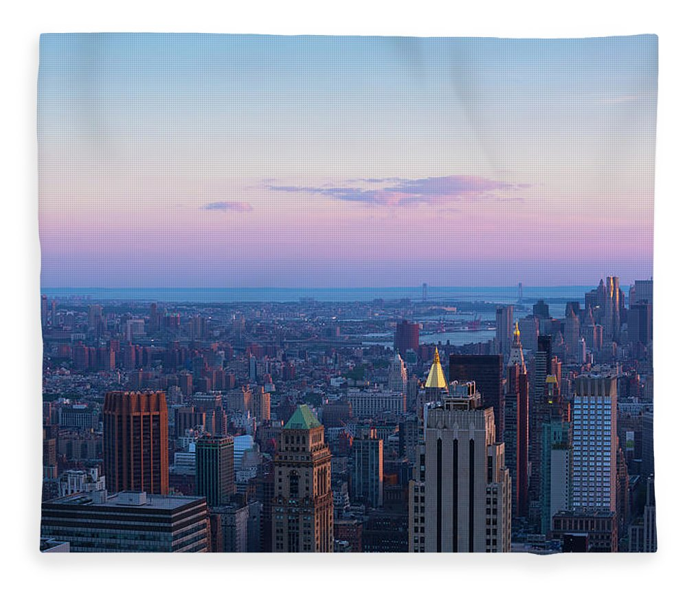 Tranquility Fleece Blanket featuring the photograph Aerial View Of Empire State And Midtown by Future Light