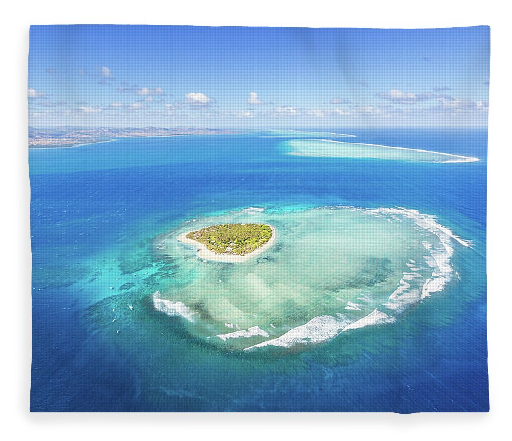 Tranquility Fleece Blanket featuring the photograph Aerial View Of Heart Shaped Island by Matteo Colombo