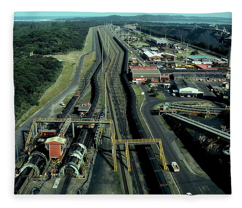 Freight Transportation Fleece Blanket featuring the photograph Aerial View Of Large Coal Export by Beyondimages