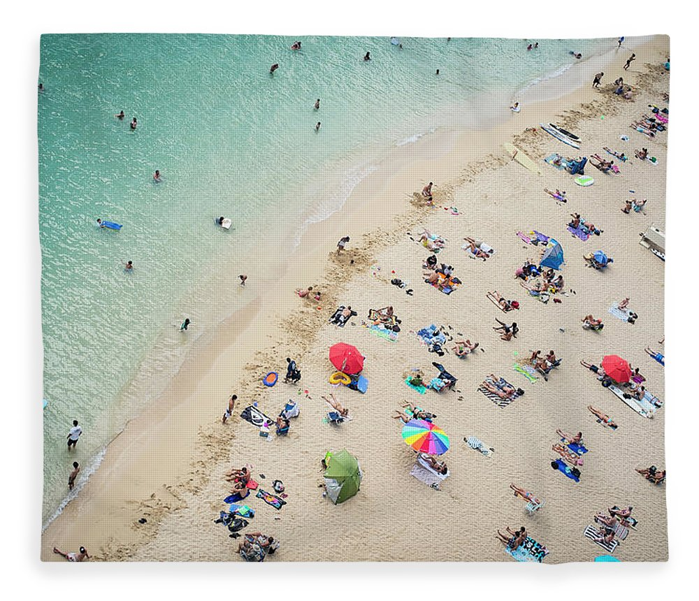 Honolulu Fleece Blanket featuring the photograph Aerial View Of Tourists On Beach by Alberto Guglielmi