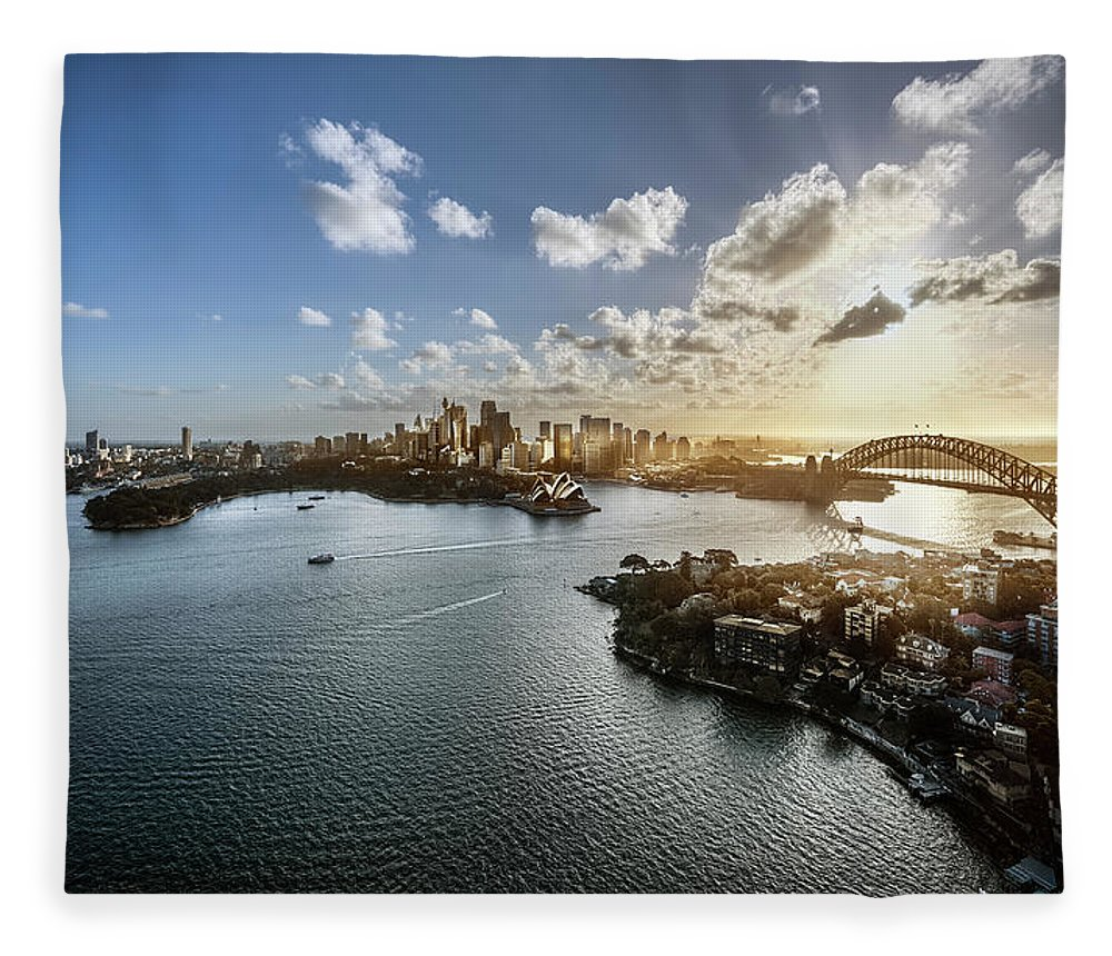Sydney Harbor Bridge Fleece Blanket featuring the photograph Aeriall View Of Sydney Harbour At Sunset by Howard Kingsnorth
