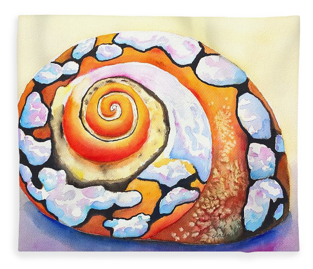 Shell Fleece Blanket featuring the painting African Turbo Shell by Carlin Blahnik CarlinArtWatercolor