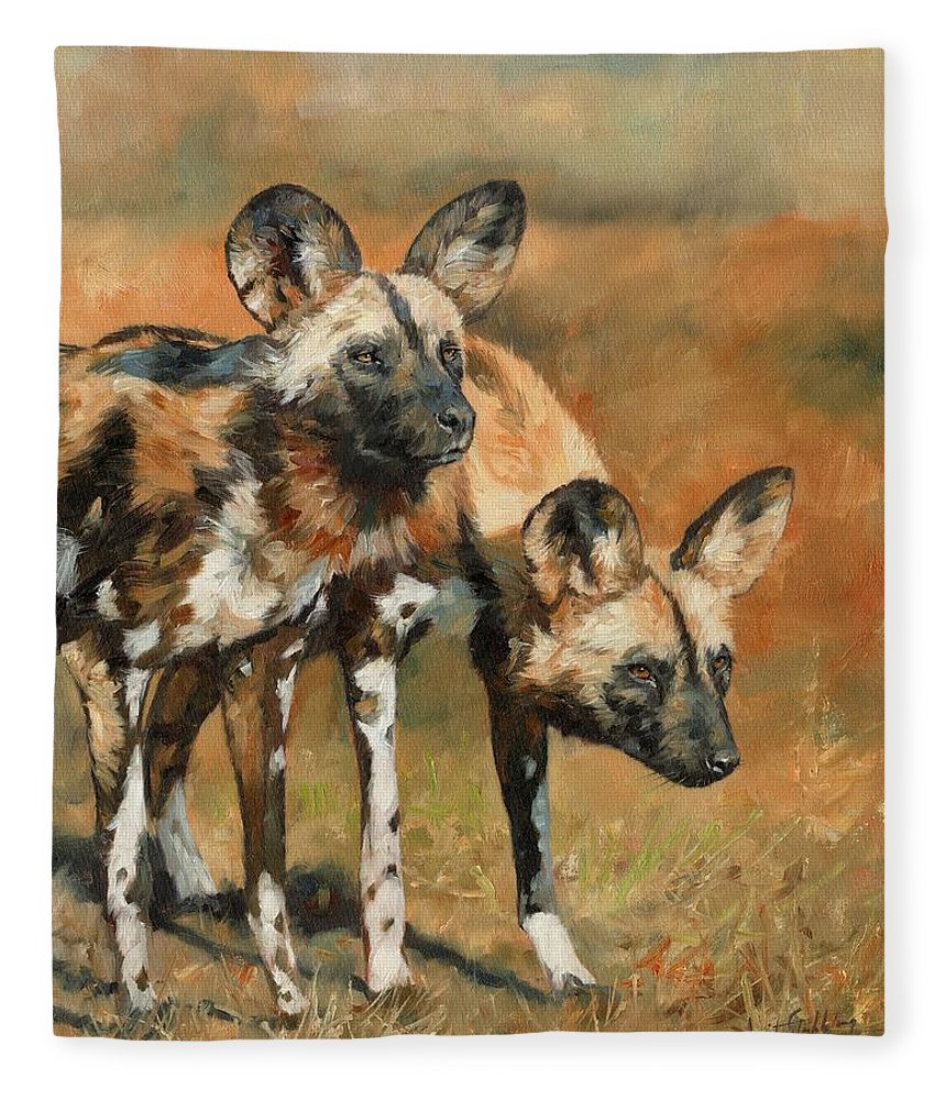 Wild Dogs Fleece Blanket featuring the painting African Wild Dogs by David Stribbling