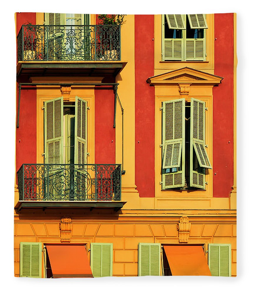 Cote D\'azur Fleece Blanket featuring the photograph Afternoon Windows by Inge Johnsson