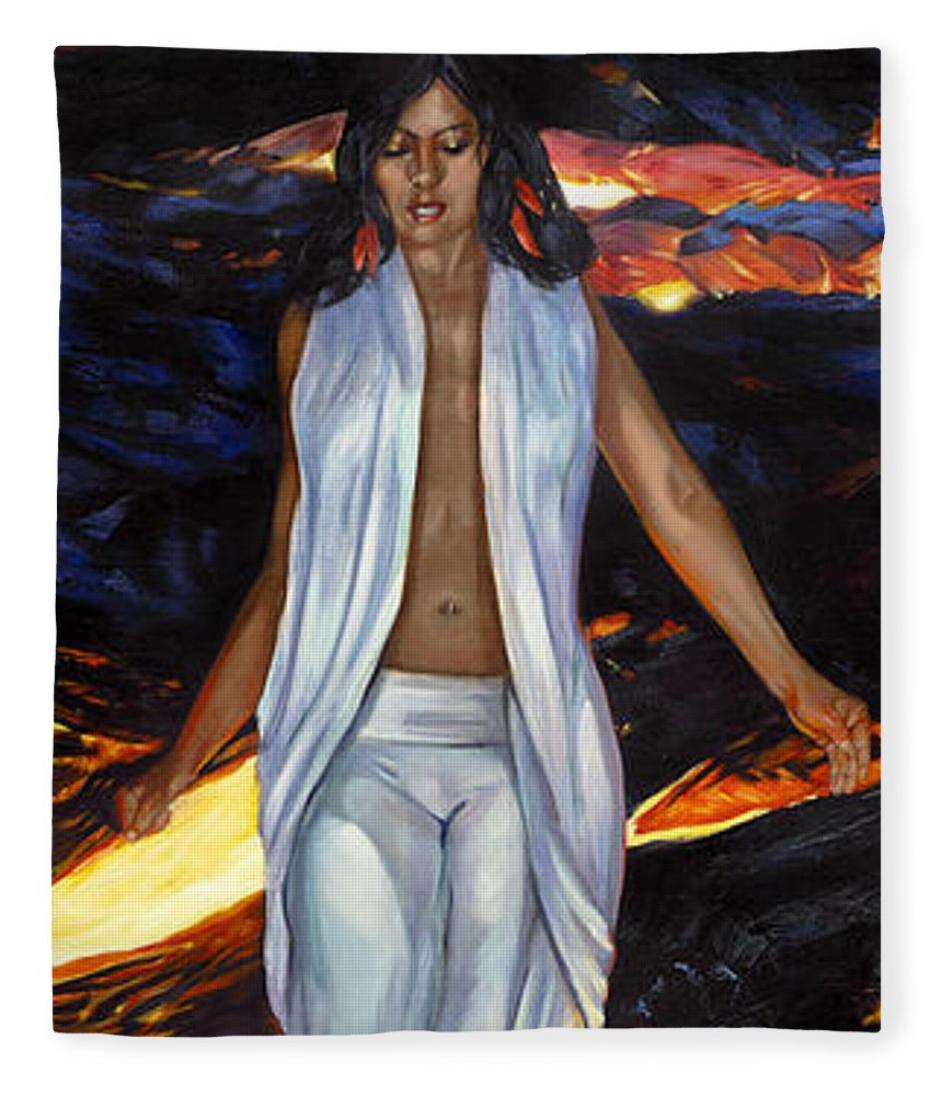 Goddess Fleece Blanket featuring the painting Ahi-fire by Rose Adare