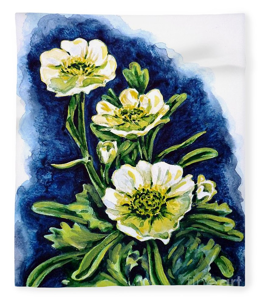 Alpine Ranunculus Fleece Blanket featuring the painting Alpine Ranunculus by Zaira Dzhaubaeva