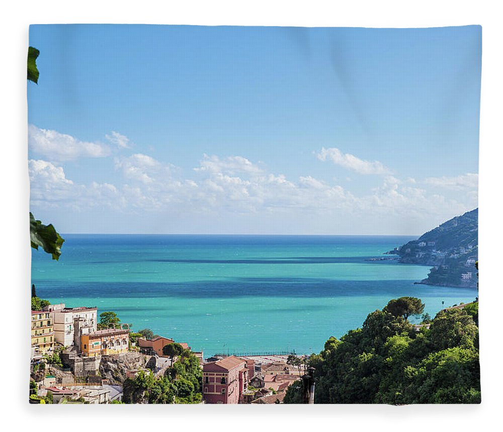 Scenics Fleece Blanket featuring the photograph Amalfi Coast Landscape Vietri Village by Angelafoto