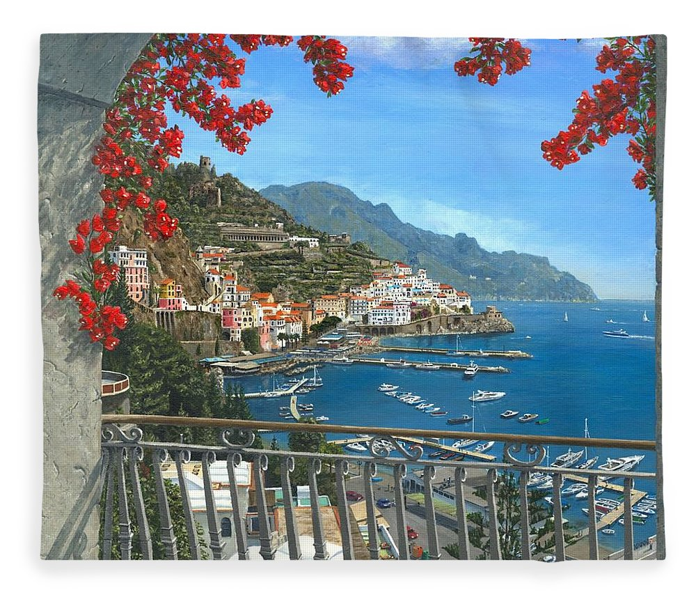 Landscape Fleece Blanket featuring the painting Amalfi Vista by Richard Harpum
