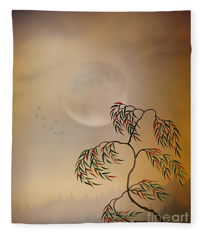 Amber Fleece Blanket featuring the digital art Amber Vision by Peter Awax