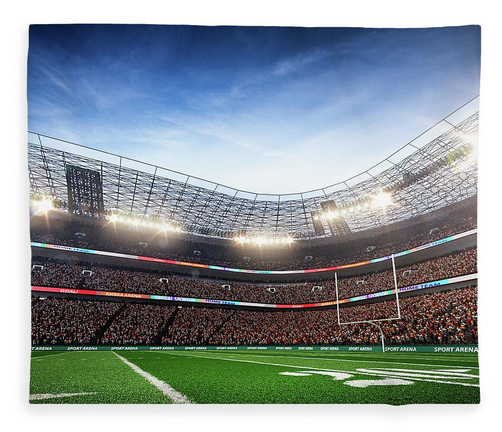 Financial Figures Fleece Blanket featuring the photograph American Football Stadium Arena Vertical by Sarhange1