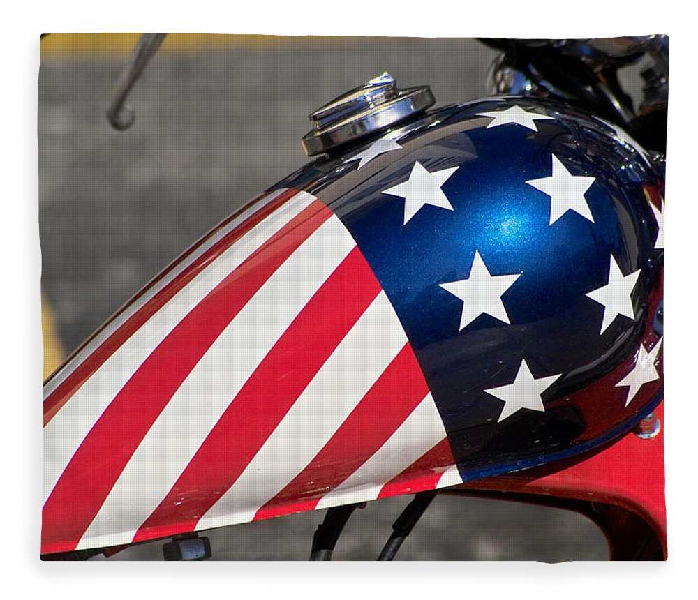 American Fleece Blanket featuring the photograph American Motorcycle by Gary Dean Mercer Clark