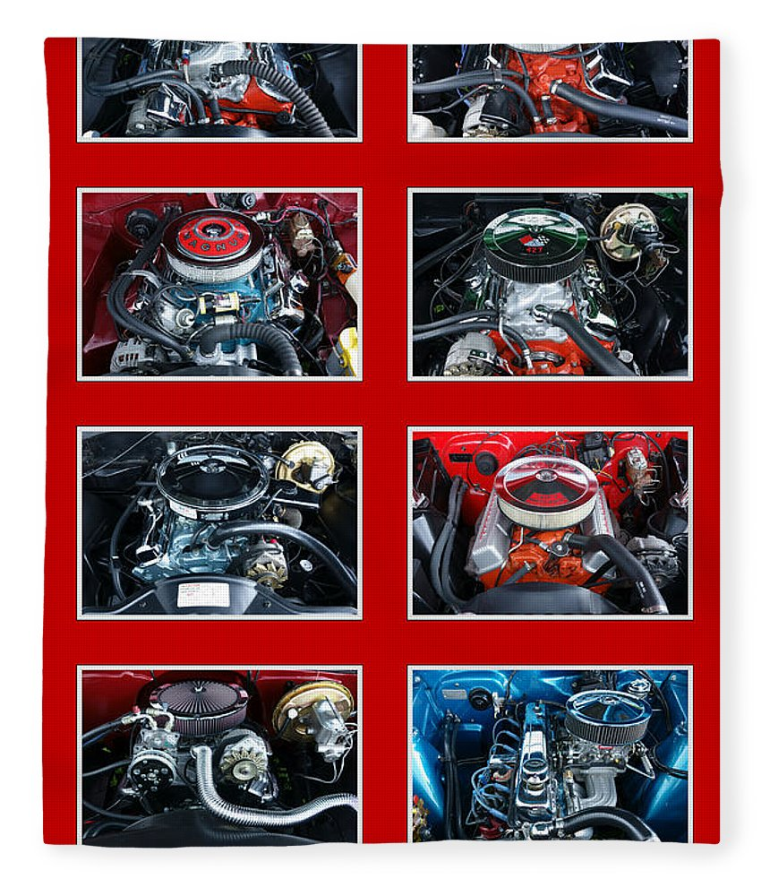 American Fleece Blanket featuring the photograph American Muscle Red Poster by Olivier Le Queinec