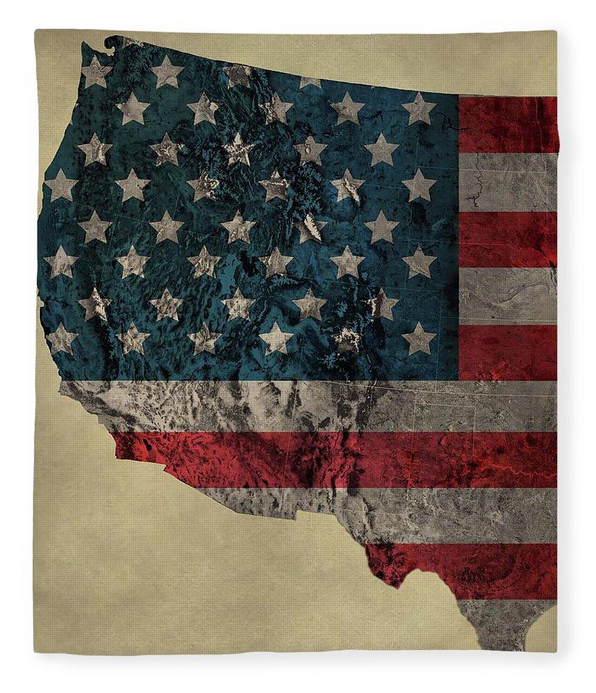 American West Topography Map Fleece Blanket featuring the digital art American West Topography Map by Dan Sproul