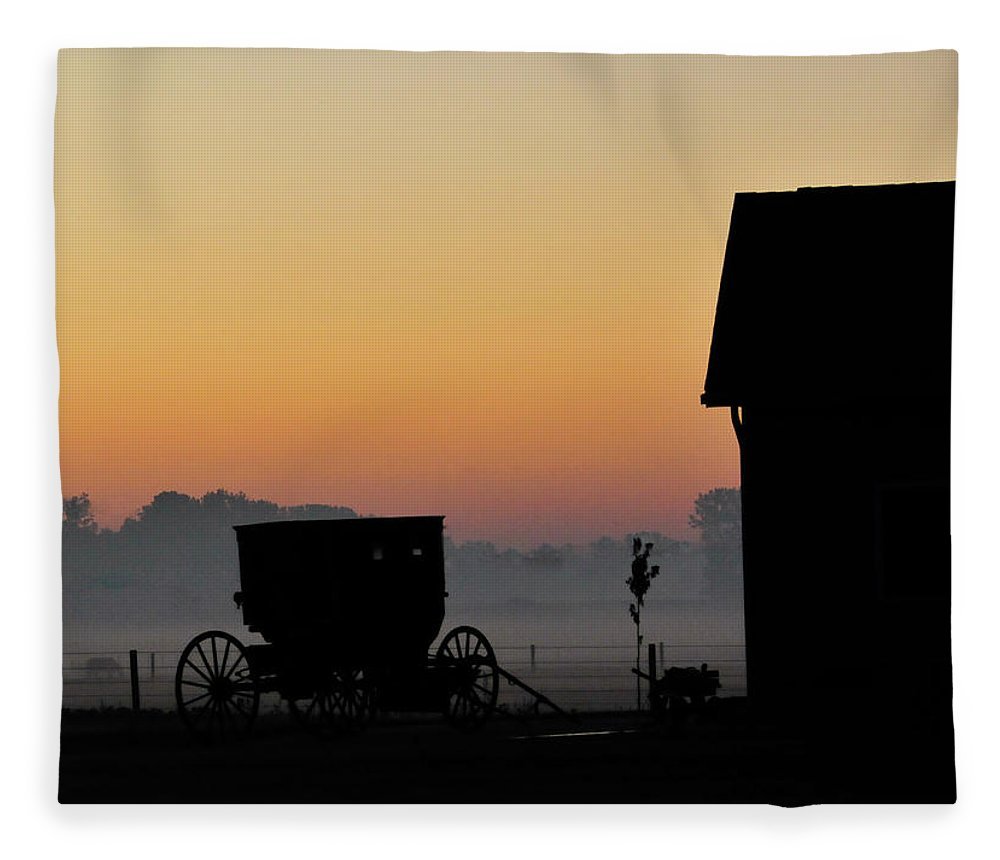 Amish Buggy Fleece Blanket featuring the photograph Amish Buggy Before Dawn by David Arment