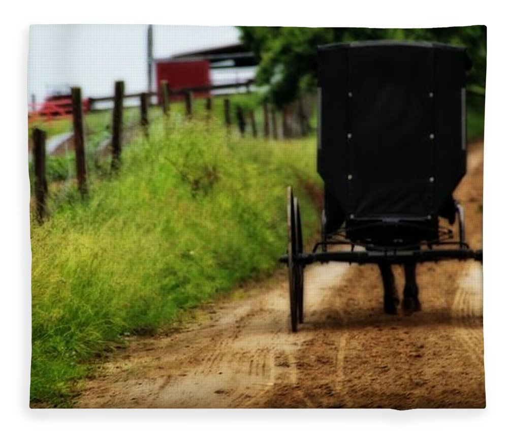 Amish Buggy On Dirt Road Fleece Blanket featuring the photograph Amish Buggy On Dirt Road by Dan Sproul