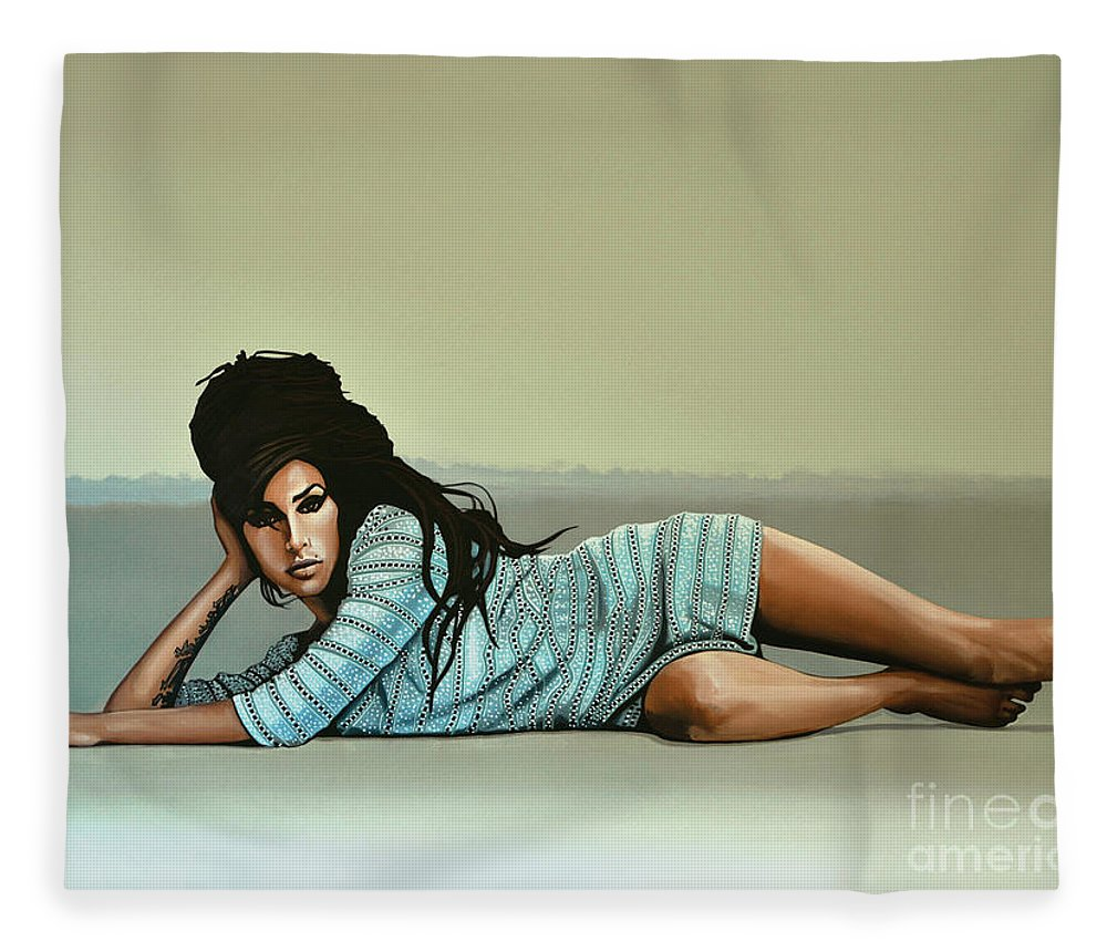 Amy Winehouse Fleece Blanket featuring the painting Amy Winehouse 2 by Paul Meijering
