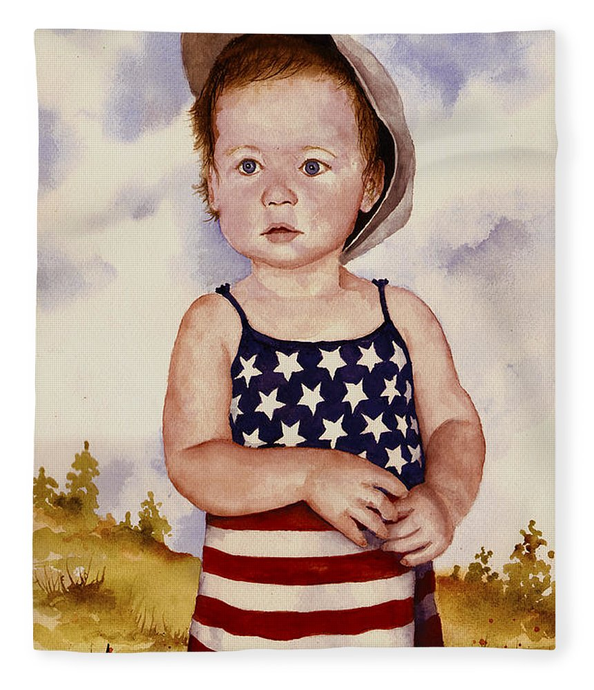 Kid Fleece Blanket featuring the painting An All American Girl Named Ireland by Sam Sidders