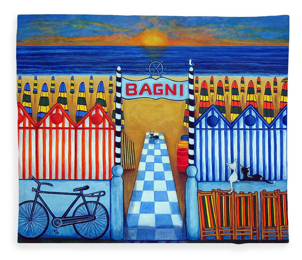 Italy Fleece Blanket featuring the painting An Italian Summer's End by Lisa Lorenz
