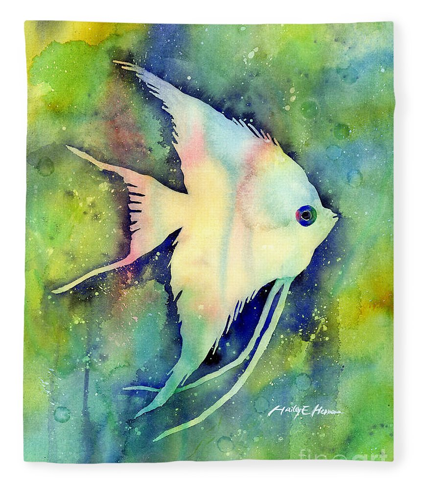 Fish Fleece Blanket featuring the painting Angelfish I by Hailey E Herrera