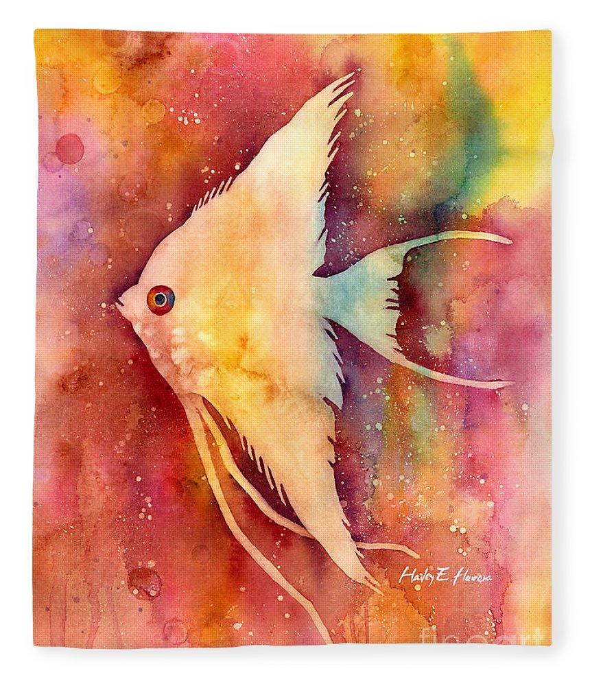 Fish Fleece Blanket featuring the painting Angelfish II by Hailey E Herrera