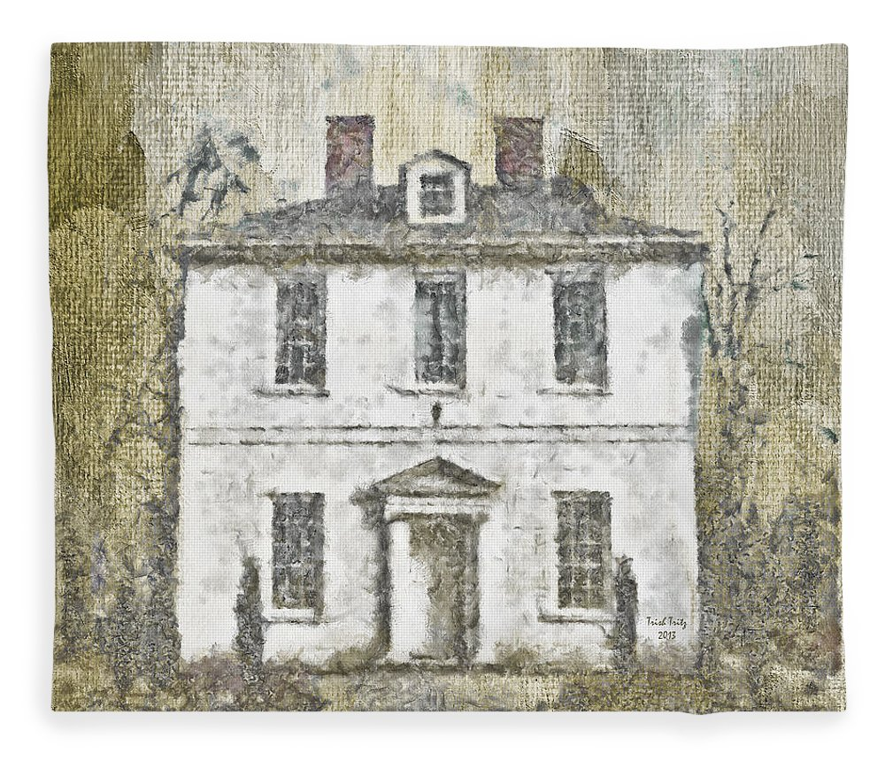 House Fleece Blanket featuring the mixed media Animal House by Trish Tritz