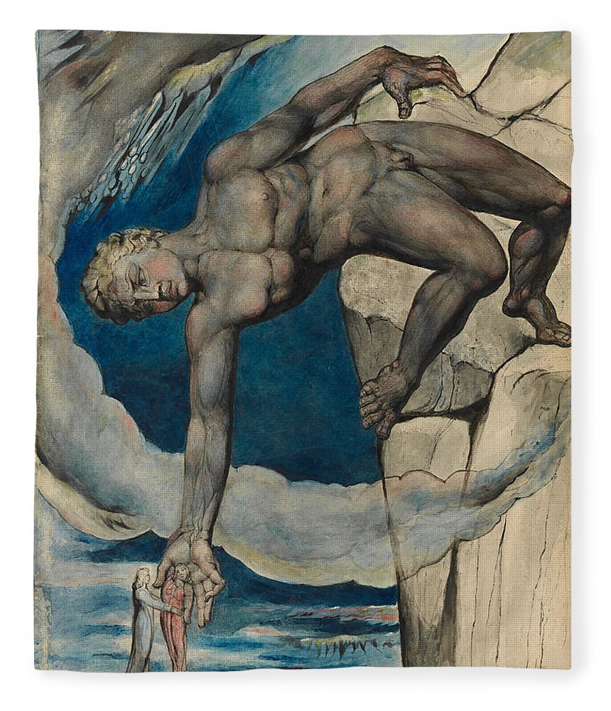 William Blake Fleece Blanket featuring the painting Antaeus Setting Down Dante And Virgil In The Last Circle Of Hell by William Blake