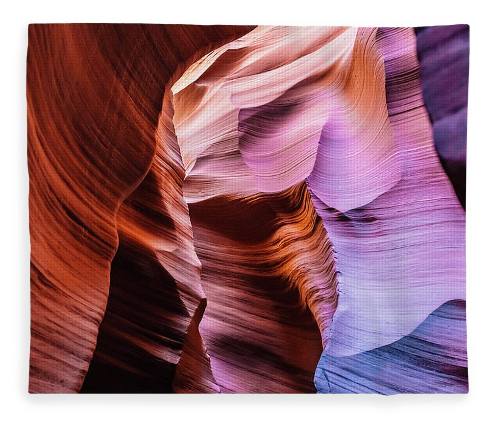 Curve Fleece Blanket featuring the photograph Antelope Canyon Spiral Rock Arches by Deimagine