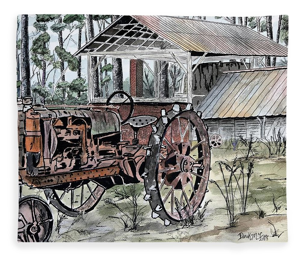 Tractor Fleece Blanket featuring the painting Antique Farm Tractor  by Derek Mccrea
