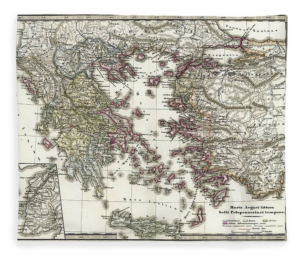 Ancient History Fleece Blanket featuring the digital art Antique Map Of Ancient Greece by Duncan1890