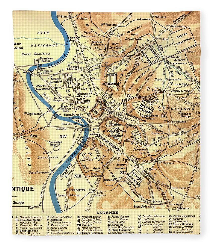 Map Fleece Blanket featuring the drawing Antique Map Of Rome During Antiquity 1870 by Mountain Dreams