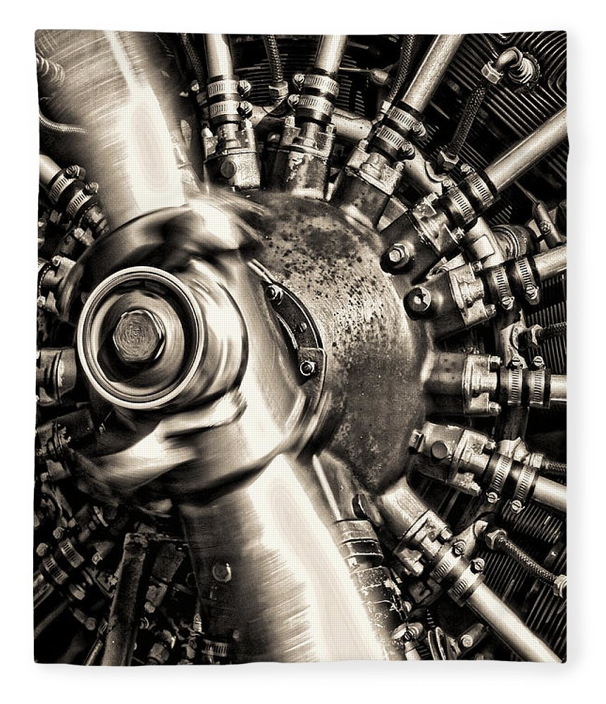Plane Fleece Blanket featuring the photograph Antique Plane Engine by Olivier Le Queinec