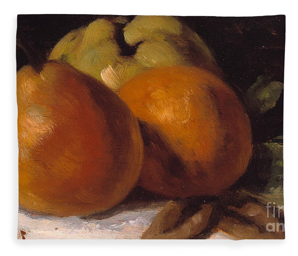 Still-life Fleece Blanket featuring the painting Apple Pear And Orange by Gustave Courbet