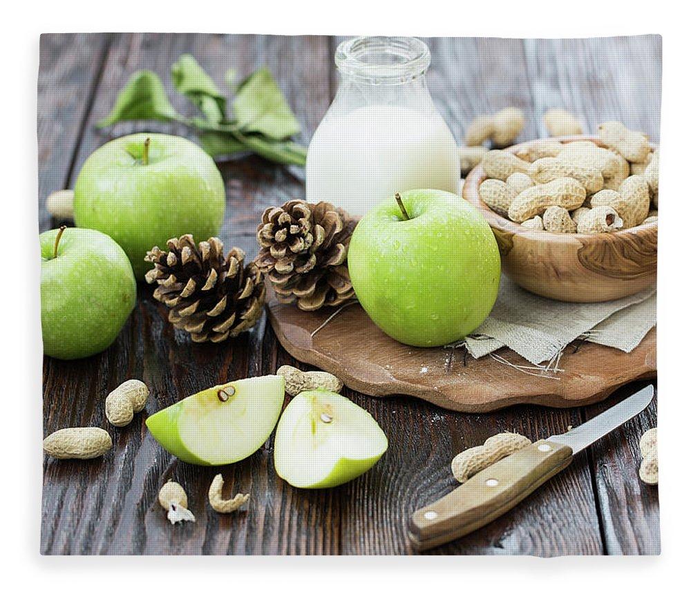 Breakfast Fleece Blanket featuring the photograph Apples And Peanuts For Breakfast by Julia Khusainova
