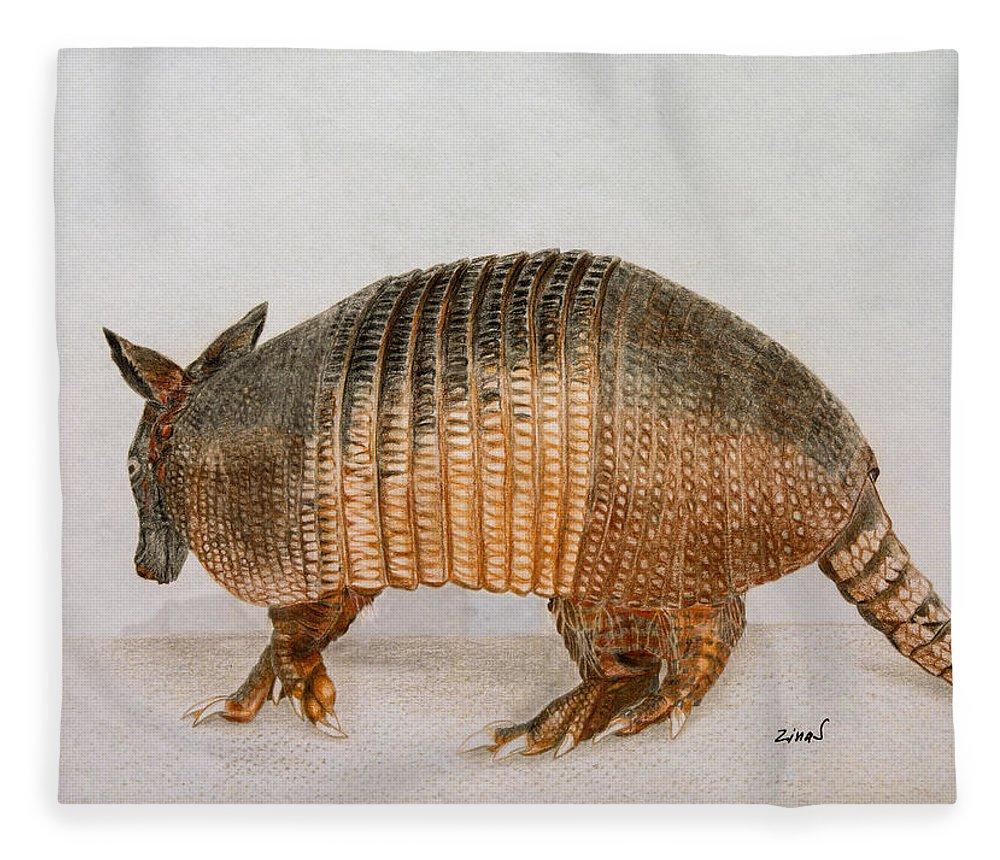 Armadillo Fleece Blanket featuring the drawing Armadillo by Zina Stromberg