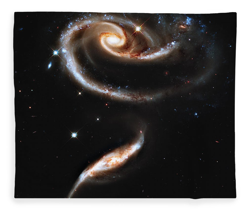 Arp Fleece Blanket featuring the photograph Arp 273 Rose Galaxies by Ricky Barnard