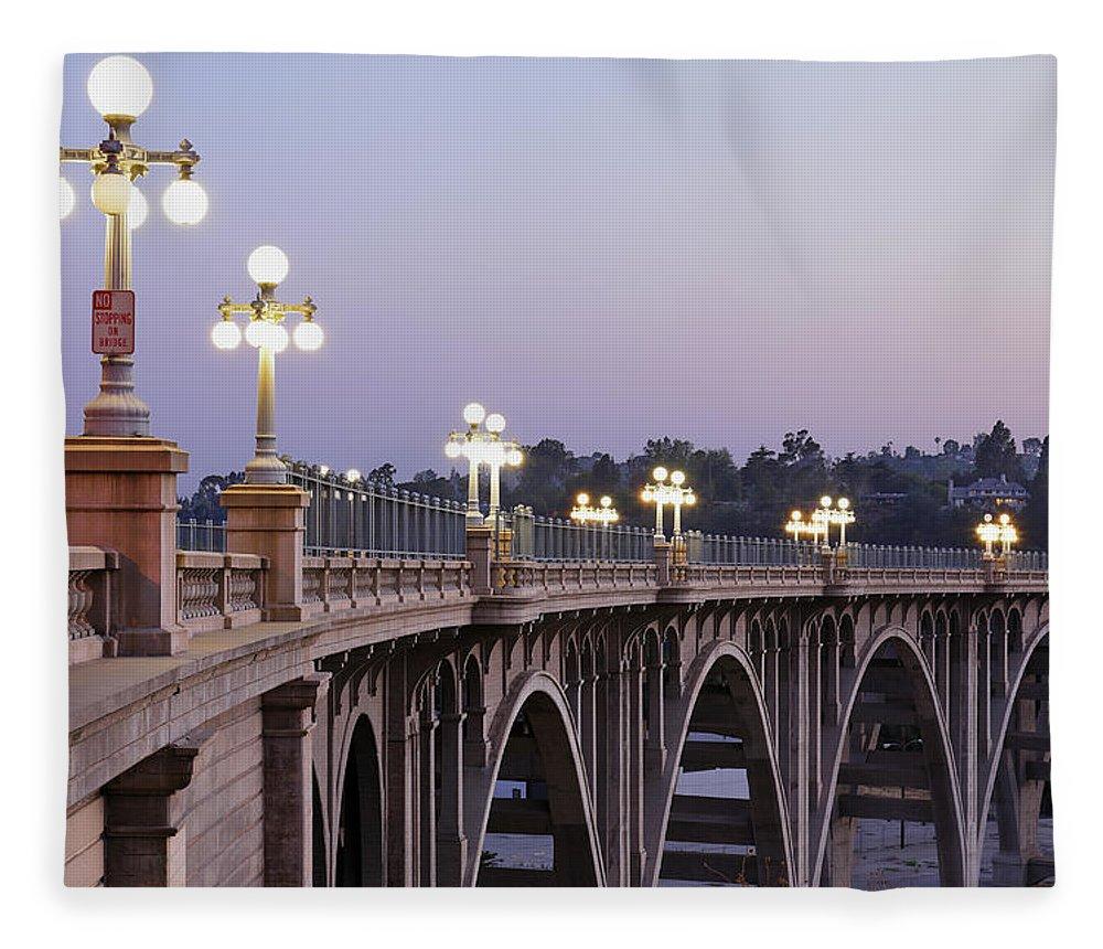Arch Fleece Blanket featuring the photograph Arroyo Seco Bridge Pasadena by S. Greg Panosian