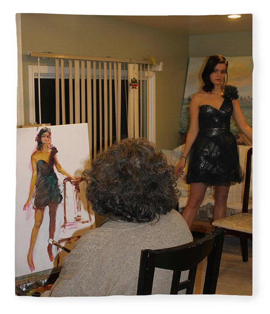 Ylli Haruni Fleece Blanket featuring the photograph Artist At Work by Ylli Haruni
