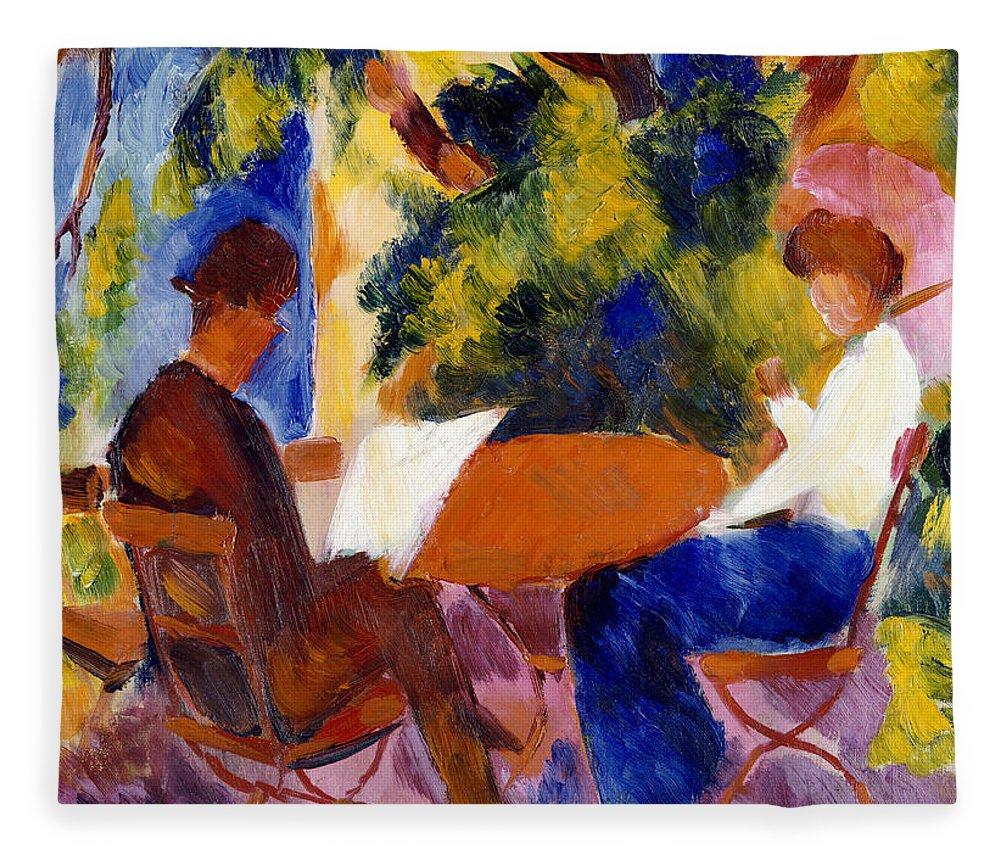 At The Garden Table Fleece Blanket featuring the painting At The Garden Table by August Macke