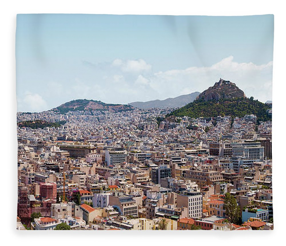 Greek Culture Fleece Blanket featuring the photograph Athens Panorama View From The Acropolis by Ed Freeman